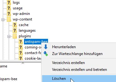 Pugin über FTP-Zugang mit FileZilla löschen