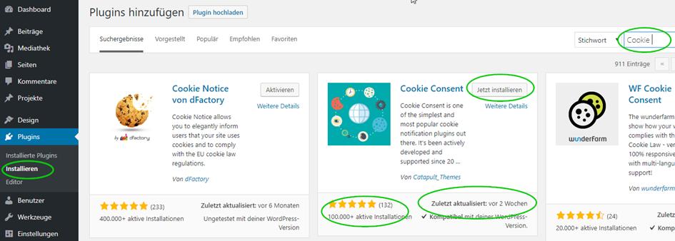 WordPress Plugins auswählen
