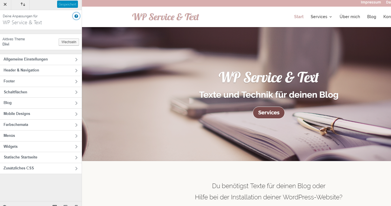 Hauptmenü im WordPress Customizer