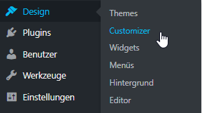 Menü in WordPress: Design - Customizer